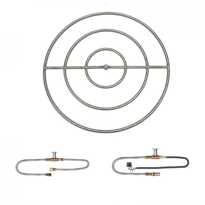 The Outdoor Plus OPT-PBRxx Round Match Light Gas Fire Pit Burner Kit