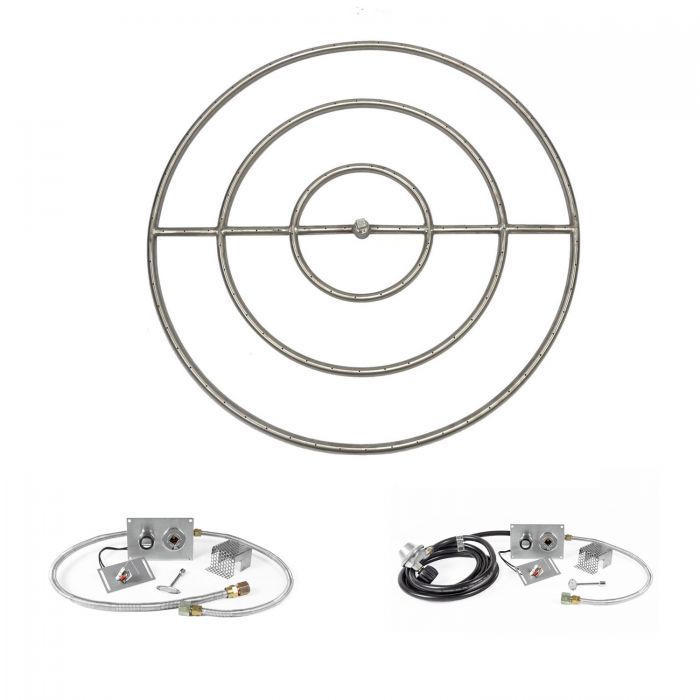 The Outdoor Plus OPT-1100xxBP-SPARK Round Spark Ignition Gas Fire Pit Burner Kit