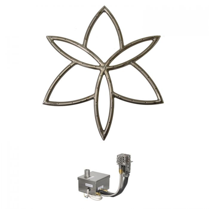 The Outdoor Plus OPT-FRLBxxEKIT Lotus Flower Electronic Ignition Gas Fire Pit Burner Kit