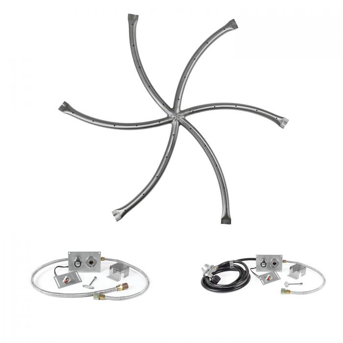 The Outdoor Plus OPT-FS35xx-RoundFlat Triple S Spark Ignition Gas Fire Pit Burner Kit with Round Flat Pan