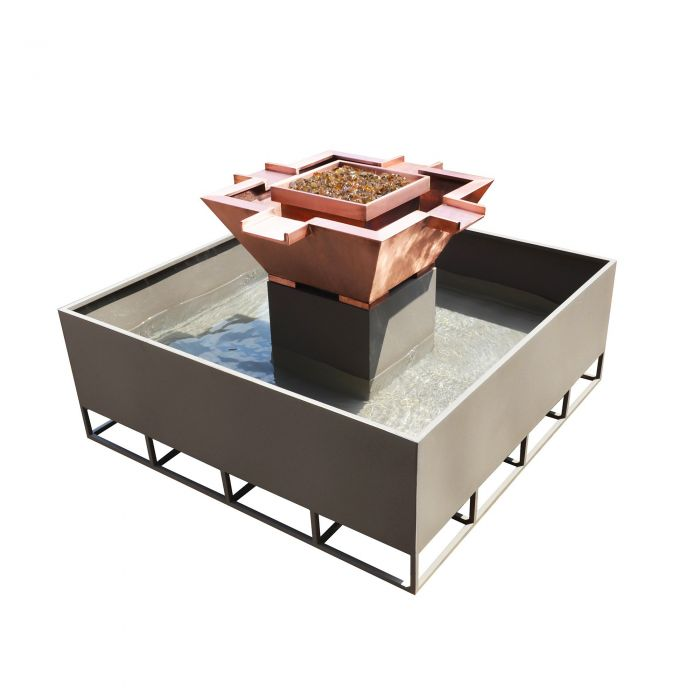 TOP Fires by The Outdoor Plus OPT-OLS60x Olympian Square 4-Way Fire and Water Bowl
