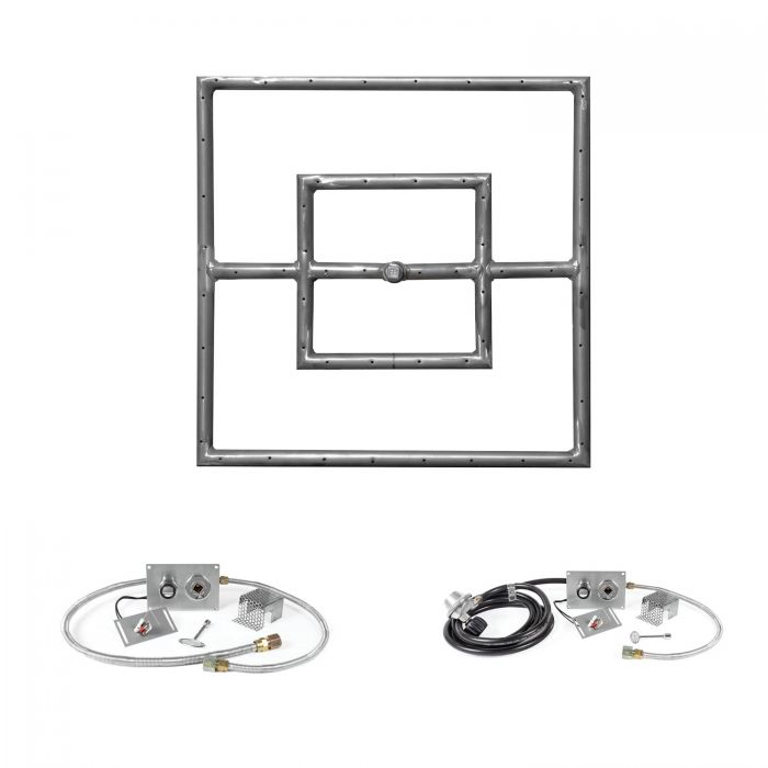 The Outdoor Plus OPT-PBSxx-SPARK Square Spark Ignition Gas Fire Pit Burner Kit
