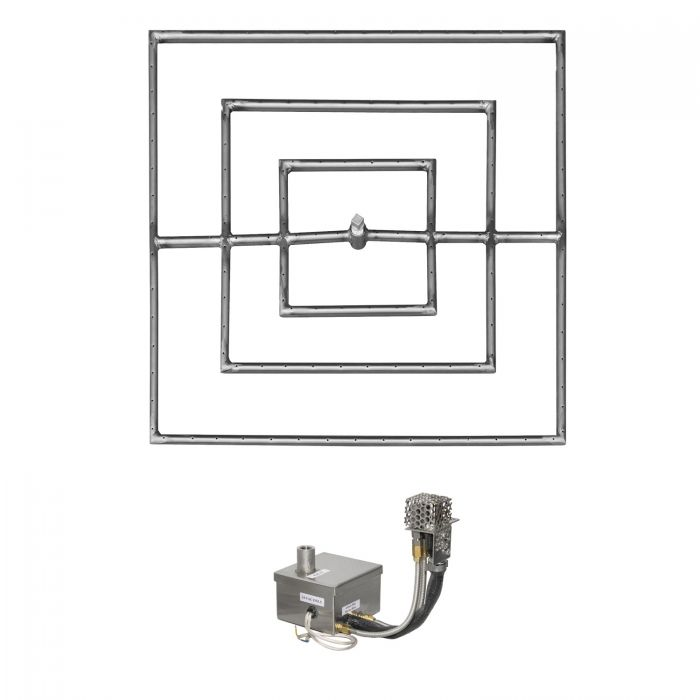 The Outdoor Plus OPT-PBSxxEKIT Square Electronic Ignition Gas Fire Pit Burner Kit