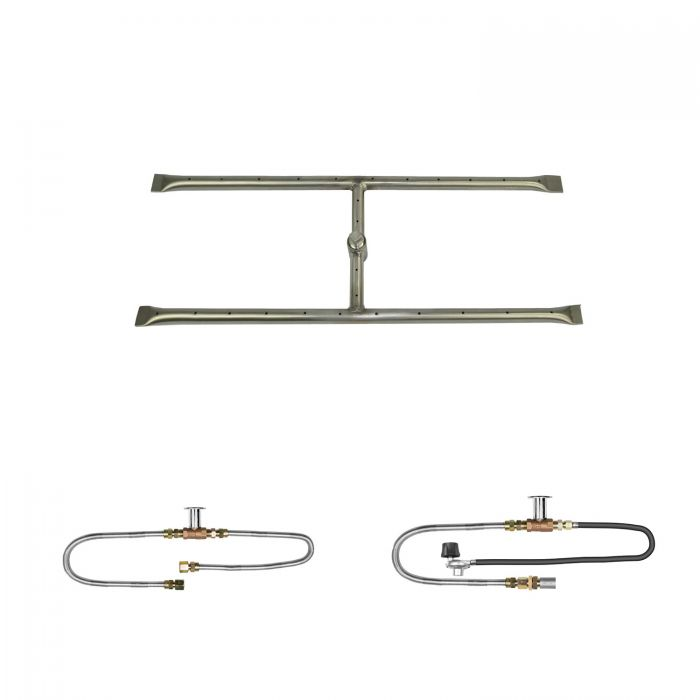 The Outdoor Plus OPT-REFD12xx Linear H-Style Match Light Gas Fire Pit Burner Kit