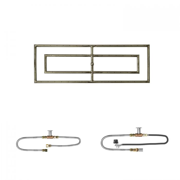 The Outdoor Plus OPT-RFRD12xx Rectangular Match Light Gas Fire Pit Burner Kit