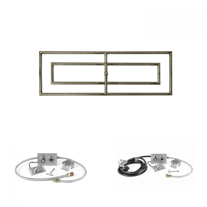 The Outdoor Plus OPT-RFRD12xx-SPARK Rectangular Spark Ignition Gas Fire Pit Burner Kit