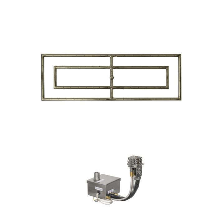 The Outdoor Plus OPT-RFRD12xxEKIT Rectangular Electronic Ignition Gas Fire Pit Burner Kit