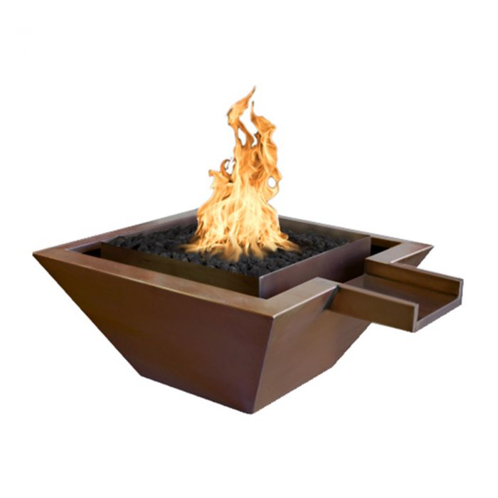 TOP Fires by The Outdoor Plus OPT-SQxxFANDW Maya Copper Fire and Water Bowl - Gravity Spill