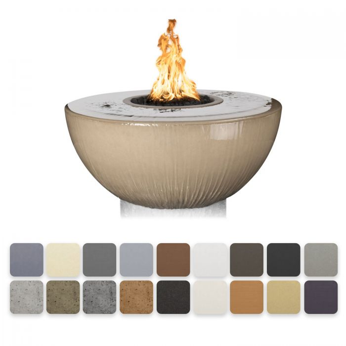 TOP Fires by The Outdoor Plus OPT-xxFW360 Sedona Concrete Gas 360 Fire and Water Bowl
