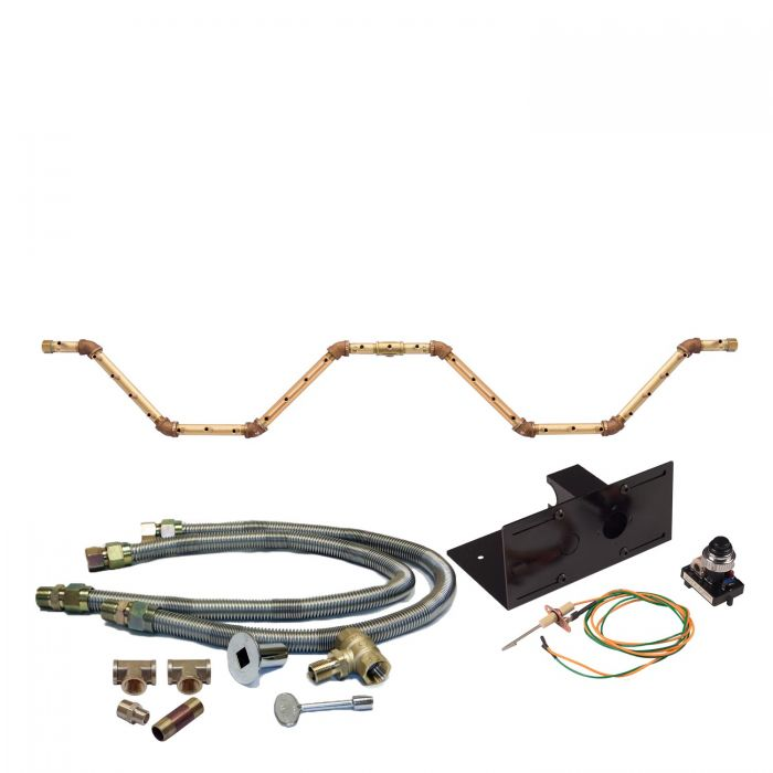 Warming Trends Crossfire Spark Ignition Serpent Brass Gas Fire Pit Burner Kits