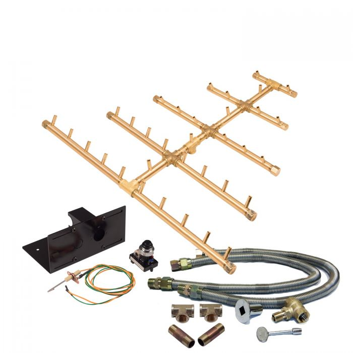 Warming Trends Crossfire Spark Ignition Triangular Tree-Style Brass Gas Fire Pit Burner Kits