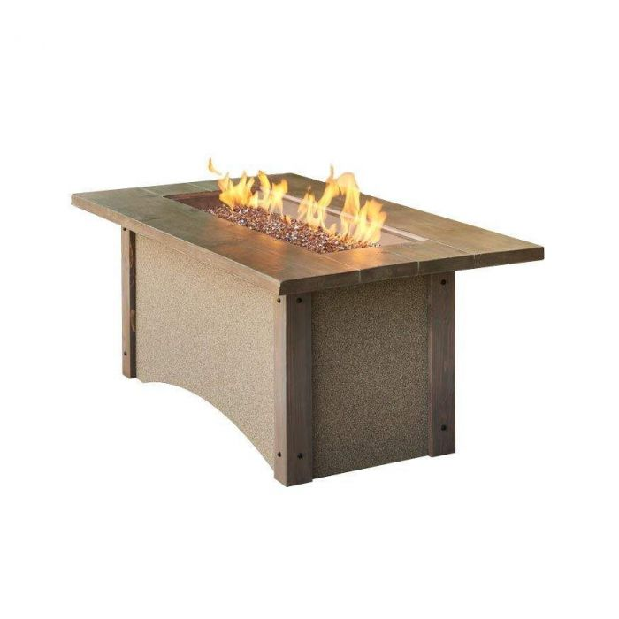 The Outdoor GreatRoom Company PR-1242BRN Pine Ridge Fire Table, Rectangular, Honey Glow Brown Burner, 32x61-Inches