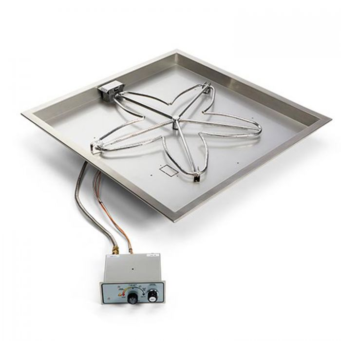Hearth Products Controls FPPK UL Listed Push Button Flame Sensing Gas Fire Pit Kit, SQBLuare Bowl Pan