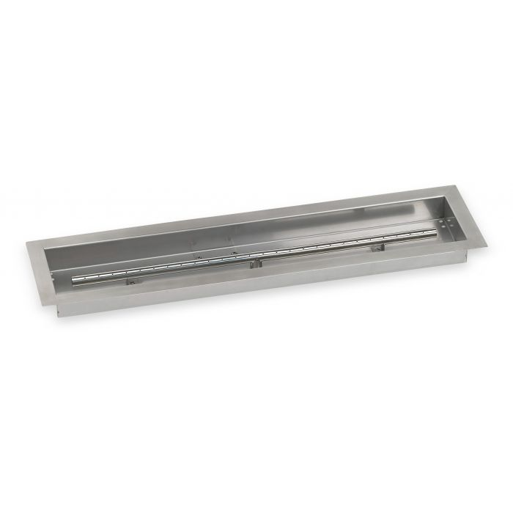 American Fireglass Drop-In Fire Pit Burner Pan, Linear Trough, 30x6 Inch - Burner Included