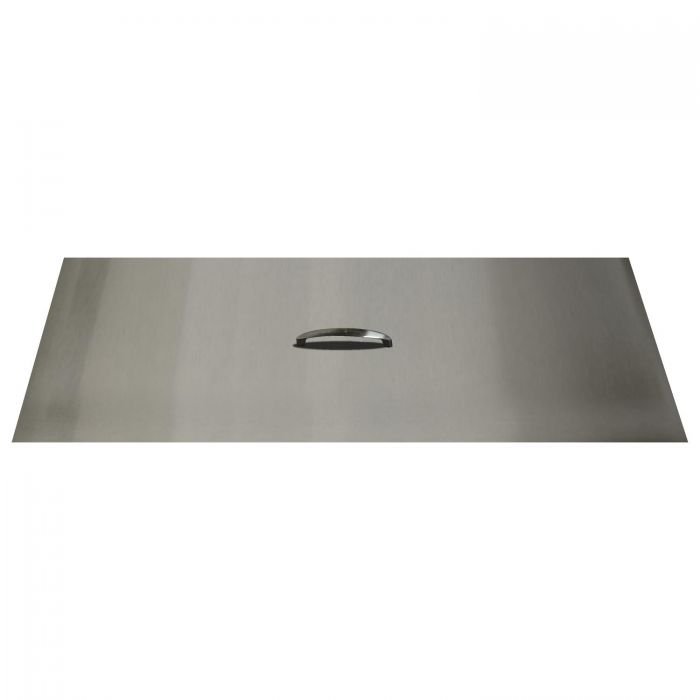 The Outdoor Plus OPT-RC1640 Brushed Stainless Steel Rectangle Fire Pit Cover, 40x16-Inch