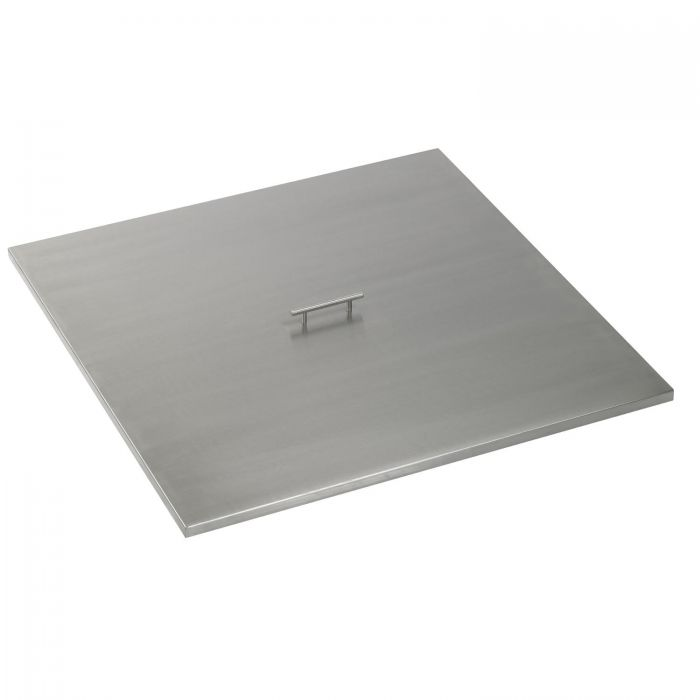 The Outdoor Plus OPT-22SC Brushed Stainless Steel Square Fire Pit Cover, 22x22-Inch