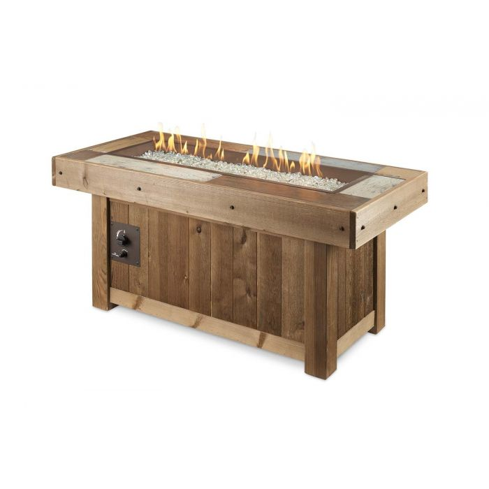 The Outdoor GreatRoom Company VNG-1242BRN Vintage Gas Fire Pit Table, 54.625x25.625-Inches