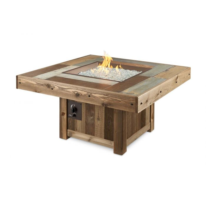 The Outdoor GreatRoom Company VNG-2424BRN Vintage Gas Fire Pit Table, Square, 48.25x48.25-Inches