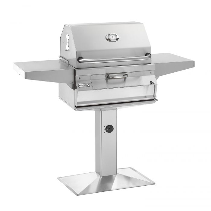 Fire Magic Legacy Charcoal Grill On Patio Post