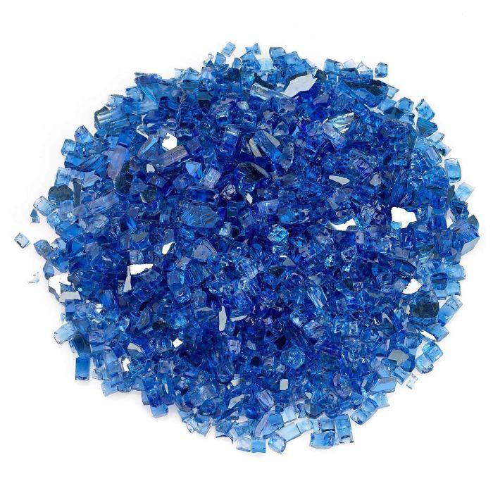 American Fireglass 10-Pound Premium Fire Glass, 1/4 Inch, Cobalt Blue Reflective