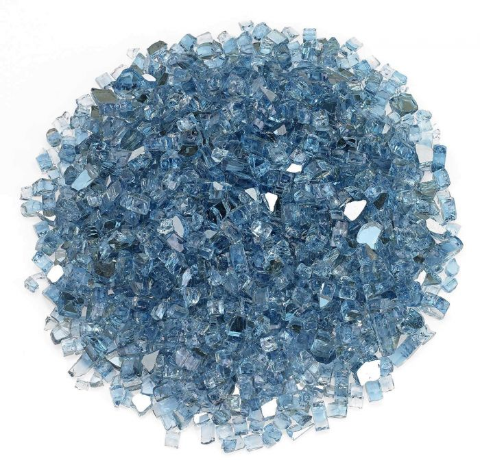 American Fireglass 10-Pound Premium Fire Glass, 1/4 Inch, Pacific Blue Reflective