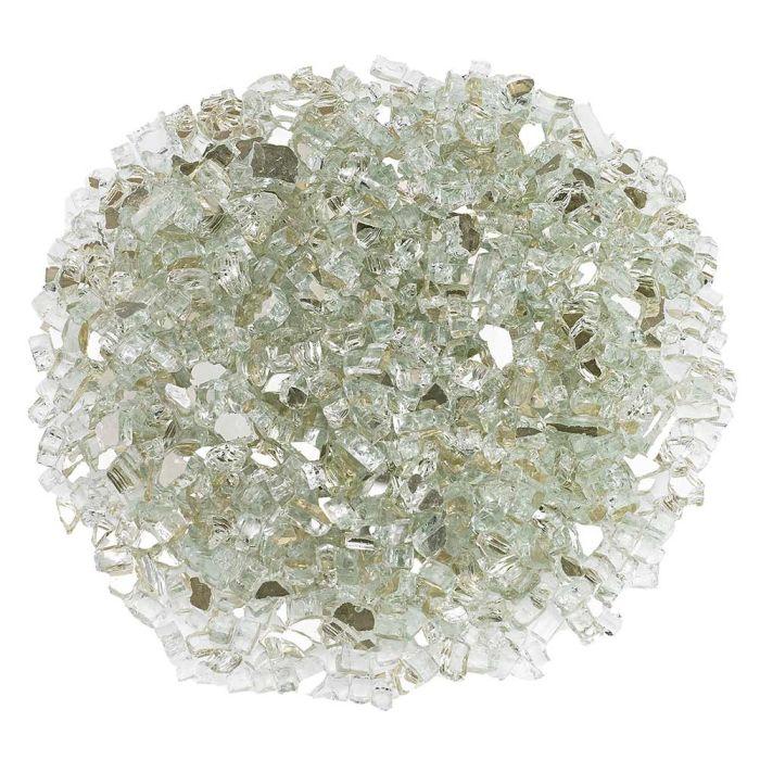 American Fireglass 10-Pound Premium Fire Glass, 1/4 Inch, Platinum Reflective