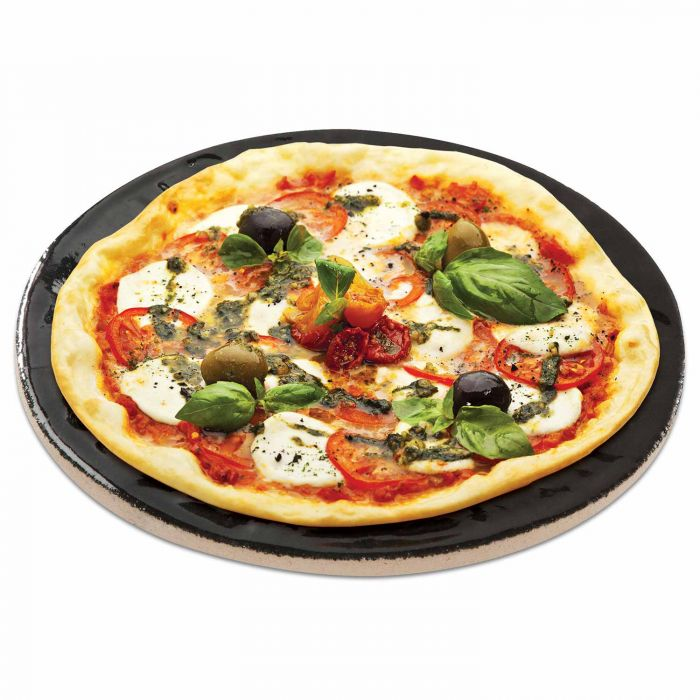 Porcelain Glazed Pizza Baking Stone, 16-Inch Diameter Lifestyle