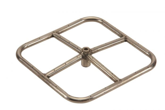 Hearth Products Controls Square Stainless Steel Fire Pit Burner, 12x12-Inch, Propane