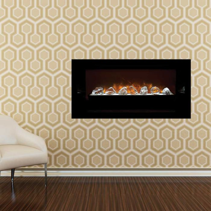 Modern Flames Home Fire Series Built-in Electric Fireplace with Glass Set and Black Glass Side Panels, 60-Inch