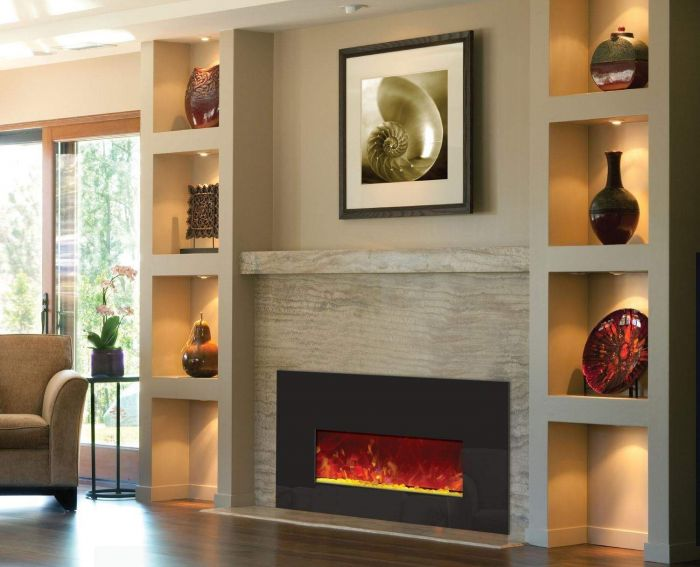 Amantii INSERT-26-3825 Electric Fireplace Insert with Black Glass Surround, 26-Inch
