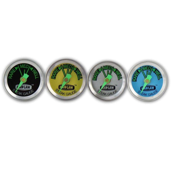 Man Law Steak Thermometer with Glow in the Dark Dial Set of 4