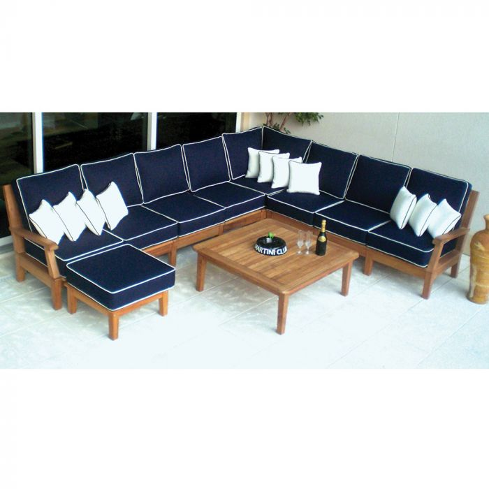 Royal Teak Collection P119 Miami Deep Seating 8-Piece Teak Patio Conversation Set with Sectional Seating, Square Coffee Table & Sunbrella Cushions