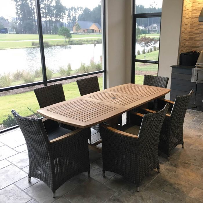 Royal Teak Collection P152 7-Piece Teak Patio Dining Set with 60/78x35-Inch Rectangular Expansion Table & Helena Full-Weave Wicker Chairs