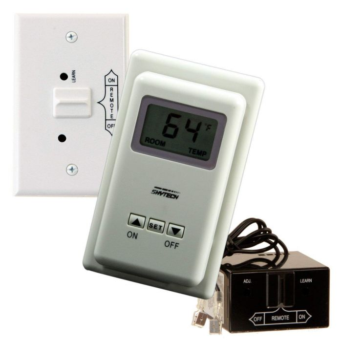 Skytech TS/R-2 Wireless Wall Mounted Thermostat Fireplace Remote Control and Receiver
