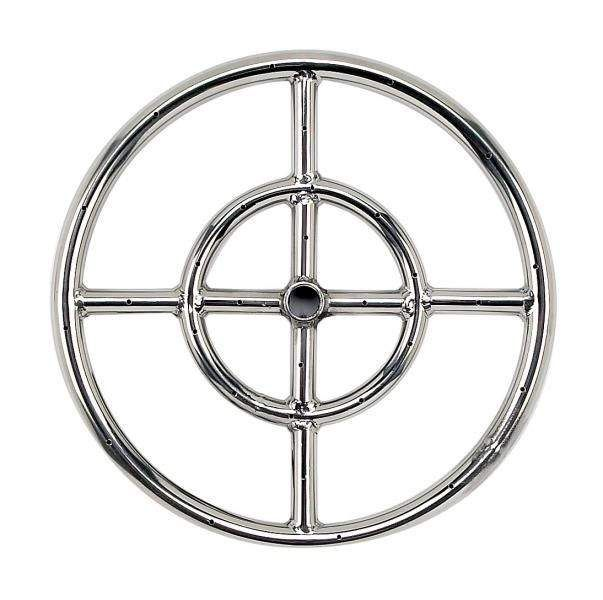American Fireglass Round Stainless Steel Fire Pit Burner, 12-Inch, Natural Gas