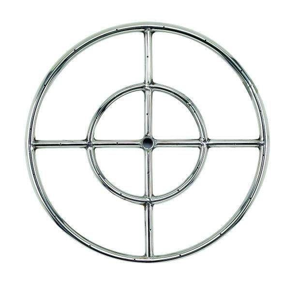 American Fireglass Round Stainless Steel Fire Pit Burner, 18-Inch, Natural Gas