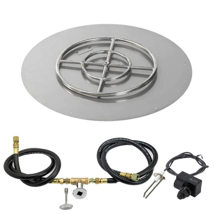 Push Button Ignition Fire Pit Kit with Round Flat Pan
