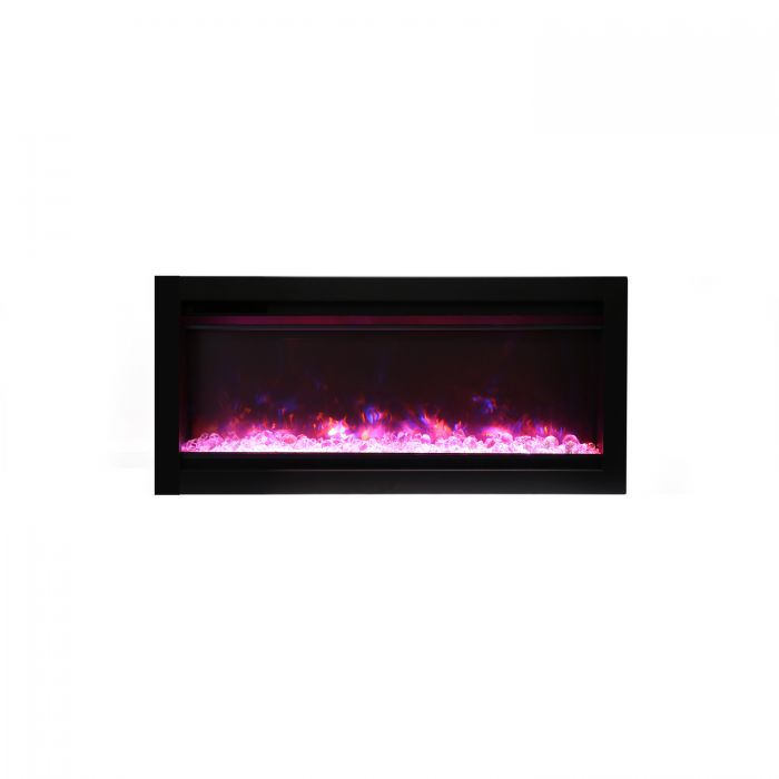 Amantii SYM-34 Basic Clean Face Built-In Electric Fireplace with Glass and Black Steel Surround, 34-Inch