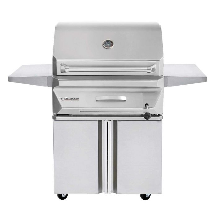 Twin Eagles 30 Inch Charcoal Grill On Cart with Two Doors