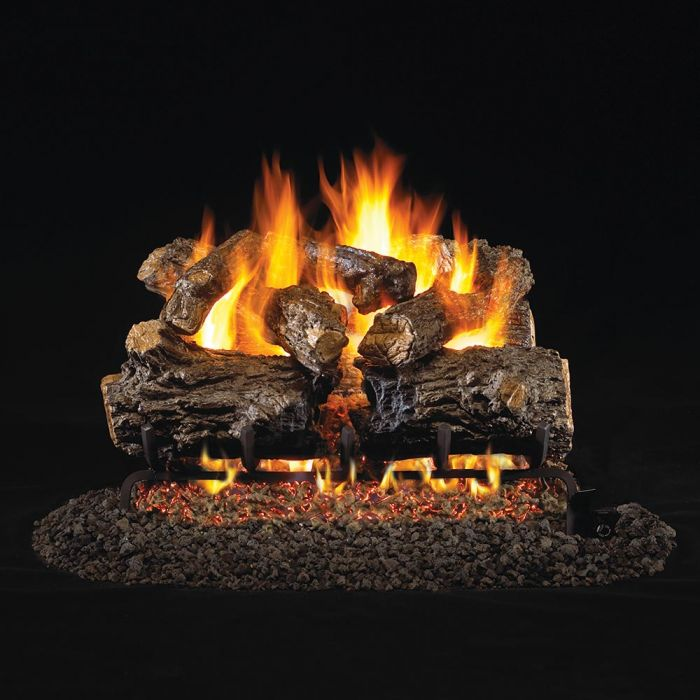 Real Fyre Burnt Rustic Oak Vented Gas Log Set, ANSI Certified