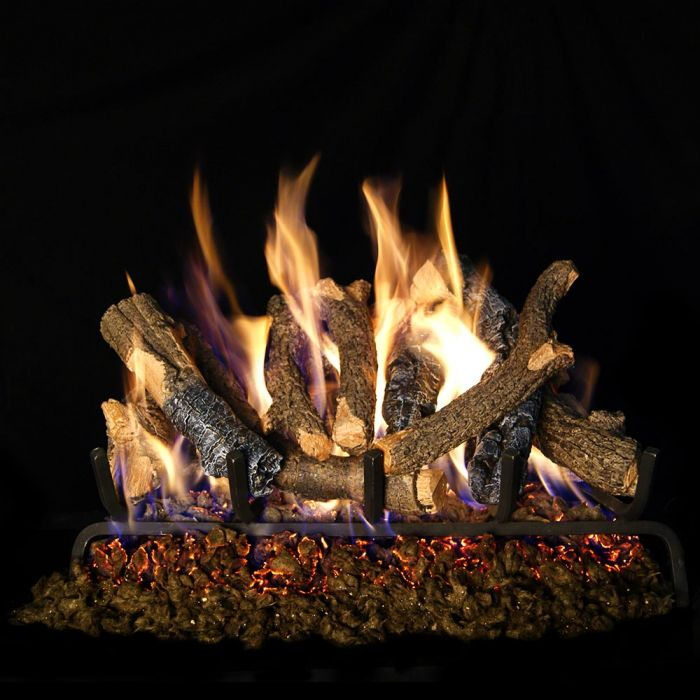 Real Fyre Charred Oak Stack Vented Gas Log Set, ANSI Certified