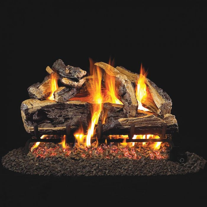 Real Fyre Charred Rugged Split Oak Vented Gas Log Set, ANSI Certified