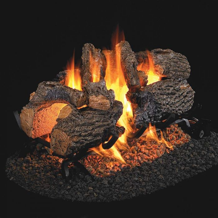 Real Fyre CHD Charred Oak Stainless Steel Vented Gas Log Set, See-Thru, ANSI Certified