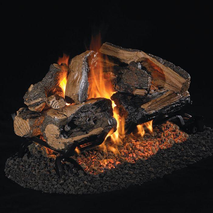 Real Fyre CHRRSO Charred Rugged Split Oak Vented Gas Logs, See-Thru